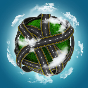 3D render of grassy globe with roads against a blue cloudy sky